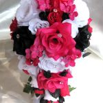 Hot Pink And Black Wedding Decorations Wedding Bouquet Bridal Flowers Silk 17 Piece Package White Fuchsia Black Hot Pink Cascade Centerpieces Maid Of Honor Bridesmaid Arrangements hot pink and black wedding decorations|guidedecor.com