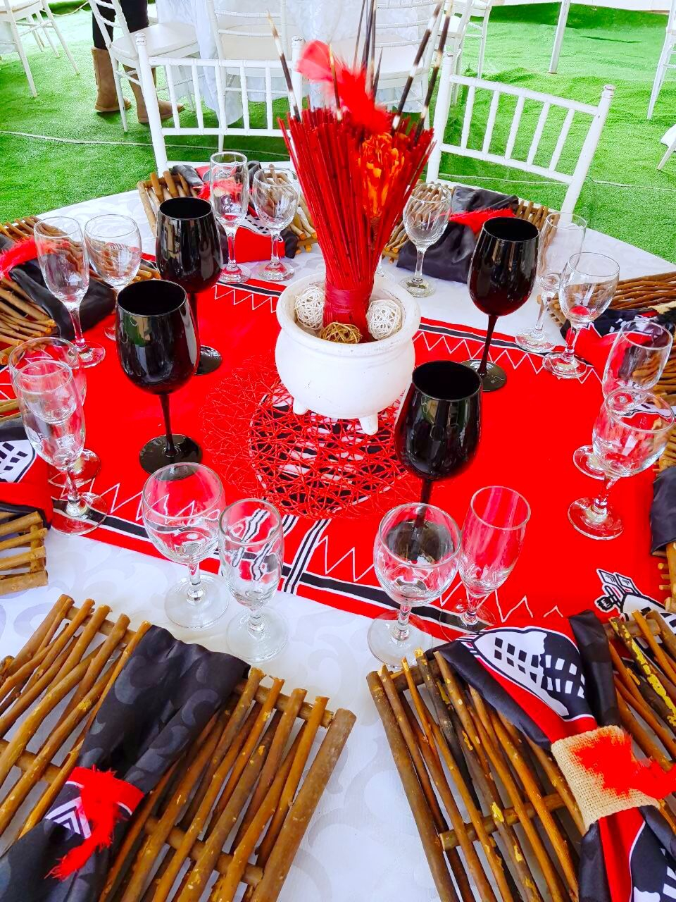 Modern Black and White Wedding Decor Wedding Decoration Blue Red White Traditional Swazi Decor At