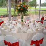 Tablecloth Decorations For Wedding Wedding Table Decorations Plus Cover White Chairs With Red Bows And White Tablecloth Then Neatly Stacked Tableware Also Is Added In The Middle Of The Centerpieces F tablecloth decorations for wedding|guidedecor.com