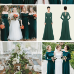 Teal Green Wedding Decorations B938 Winter Wedding Green Long Sleeve Bridesmaid Dresses And Gold Decoration teal green wedding decorations|guidedecor.com