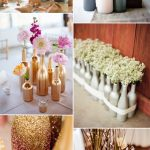 Wedding Table Decor Ideas Diy Painted Bottles Wedding Centerpieces With Flowers And Wheat For Rustic Weddings wedding table decor ideas|guidedecor.com
