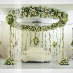 White Wedding Stage Decoration Green And White Stage white wedding stage decoration|guidedecor.com
